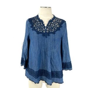 Anthropologie- Holding Horses Lyocell Pintuck Top